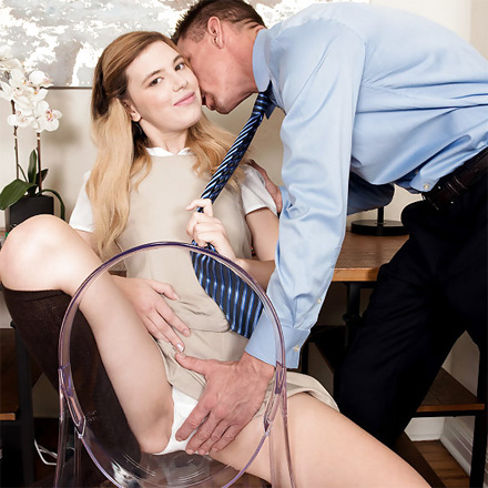 Naughty Schoolgirl Makes Step Dad Spew Goo